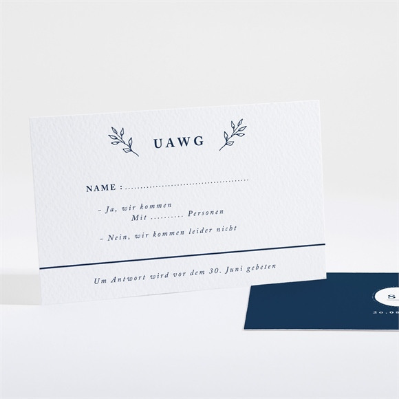 Antwortkarte Hochzeit Chic in Blau réf.N16120