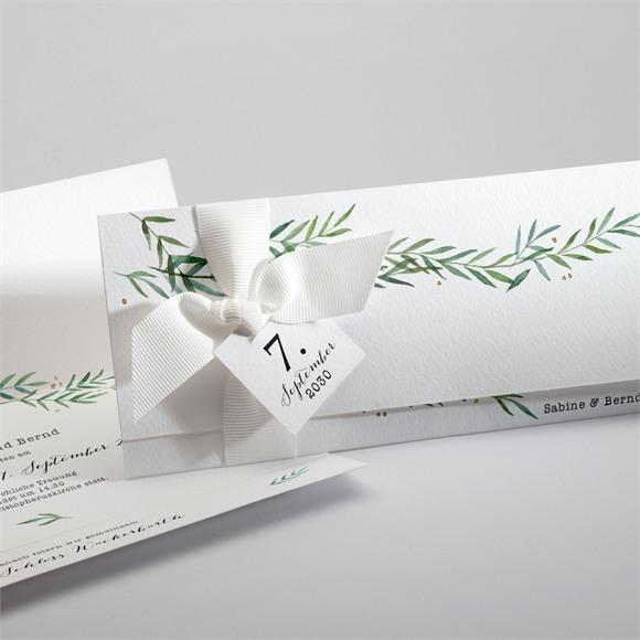 Einladungskarte Hochzeit Zarte Blätterranke réf.N94117