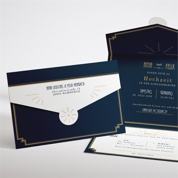 Einladungskarte Hochzeit Art déco réf.N97102