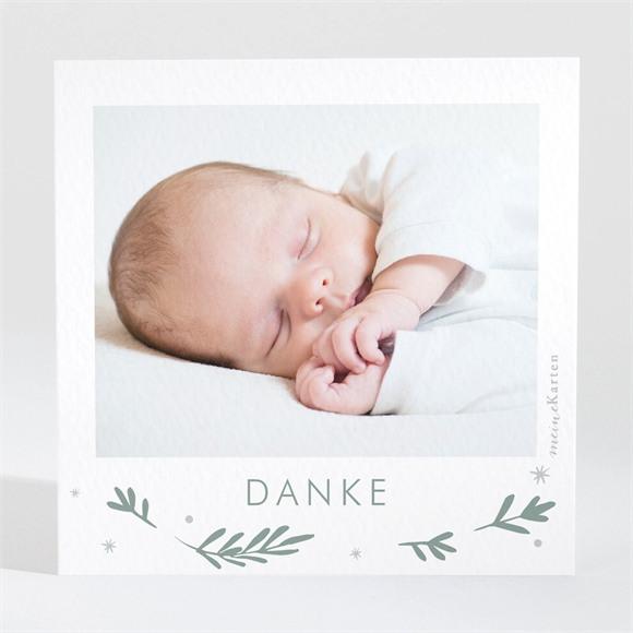Danksagungskarte Geburt Silberne Blätter réf.N3001503