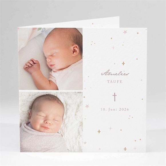 Einladungskarte Taufe Rosa Licht réf.N451124