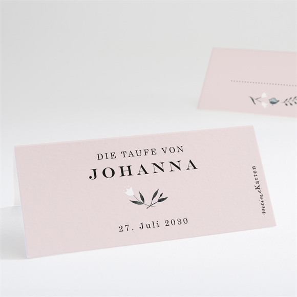 Tischkarte Taufe Ring der Natur Rosa réf.N440701