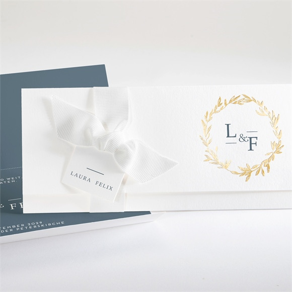 Einladungskarte Hochzeit Goldkranz réf.N94122