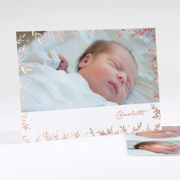 Geburtskarte Kupfer Laub réf.N18108