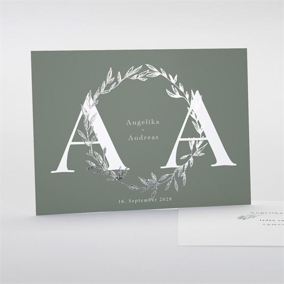 Einladungskarte Hochzeit Silberblätter réf.N18115