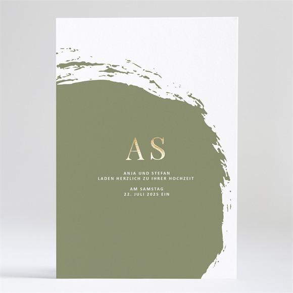 Einladungskarte Hochzeit Pinselstrich Olive réf.N241159