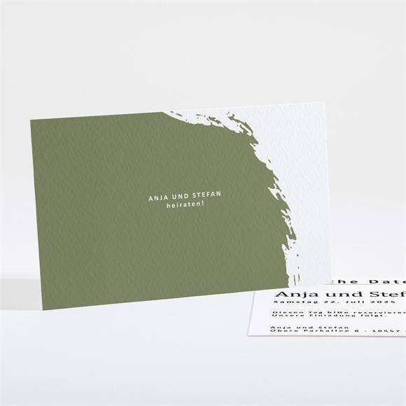 Save the Date Hochzeit Pinselstrich Olive réf.N16150
