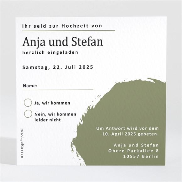 Antwortkarte Hochzeit Pinselstrich Olive réf.N3001551
