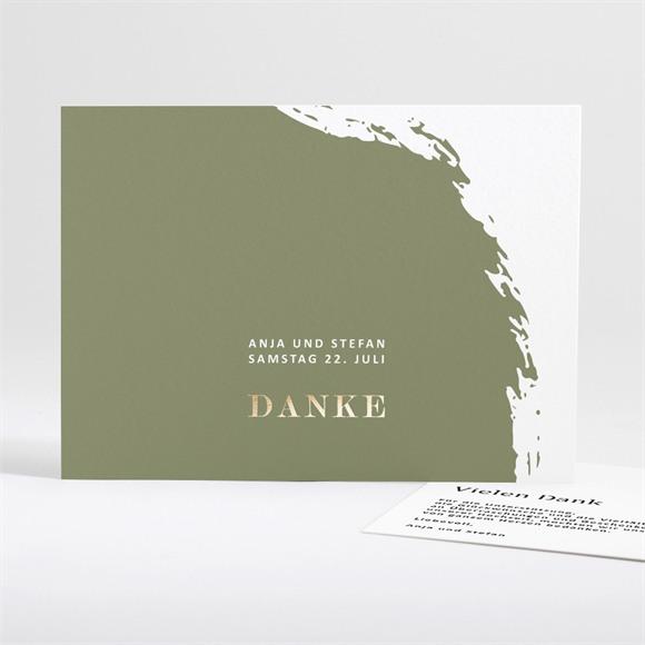 Danksagungskarte Hochzeit Olivfarbener Pinselstrich réf.N18118