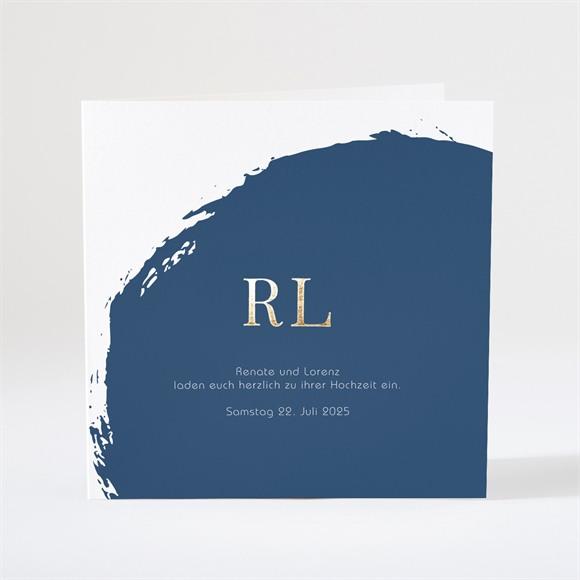 Einladungskarte Hochzeit Pinselstrich Blau réf.N46103