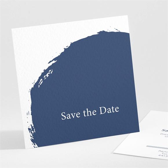 Save the Date Hochzeit Pinselstrich Blau réf.N301105