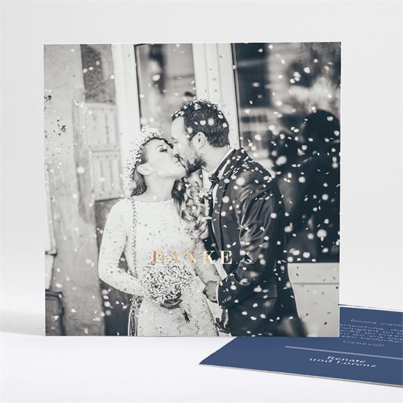 Danksagungskarte Hochzeit Pinselstrich Blau réf.N35120