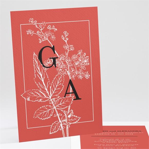 Einladungskarte Hochzeit Rote Gravur réf.N241161