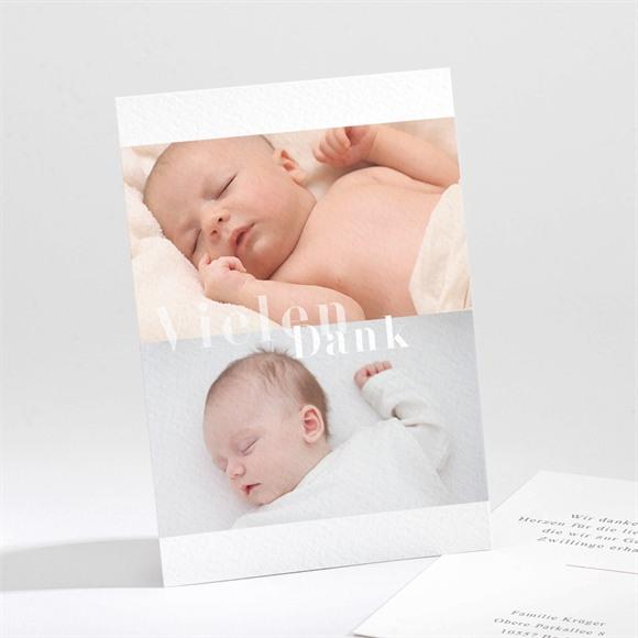 Danksagungskarte Geburt Und es sind Zwei réf.N211223