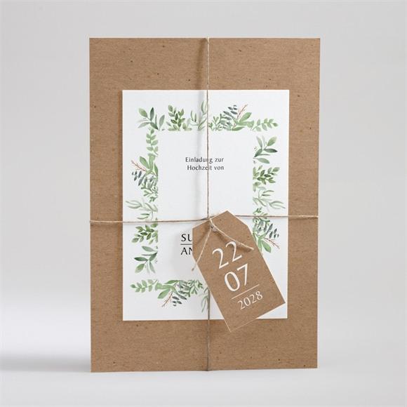 Einladungskarte Hochzeit Frühlingsgrün Kraftpapier