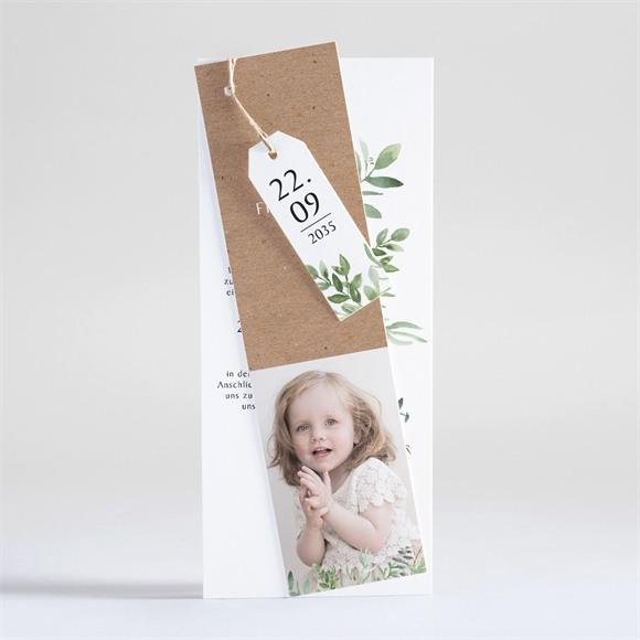 Einladungskarte Taufe Kraftpapier und Pflanzenmotiv réf.N93113