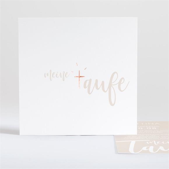 Einladungskarte Taufe Kupfer Schrift réf.N35145
