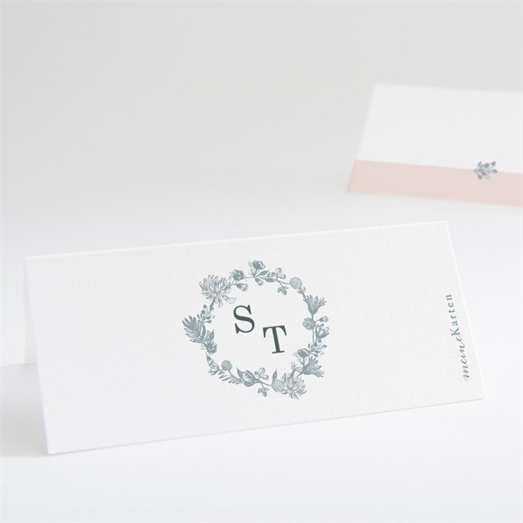 Tischkarte Hochzeit Blumenkranz réf.N440743