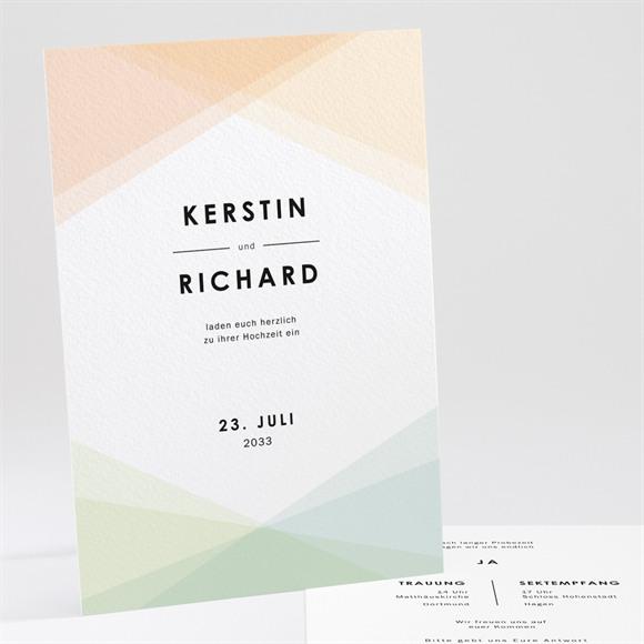 Einladungskarte Hochzeit Pastell Geometrie réf.N241200