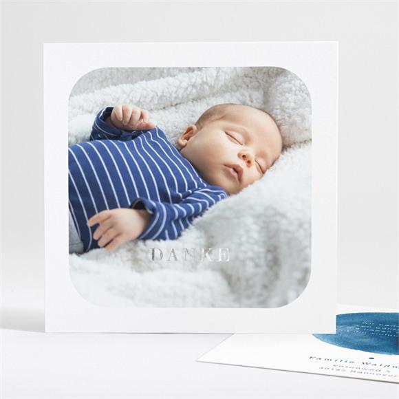 Danksagungskarte Geburt Silber und Aquarell réf.N35133