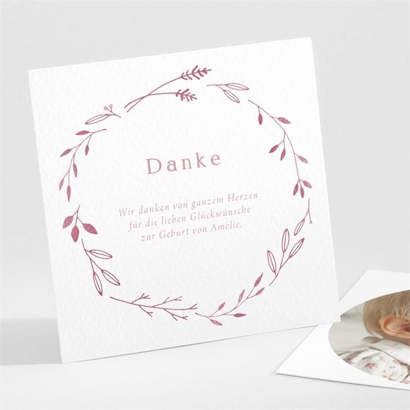 Danksagungskarte Geburt Floral in Rosa réf.N301192