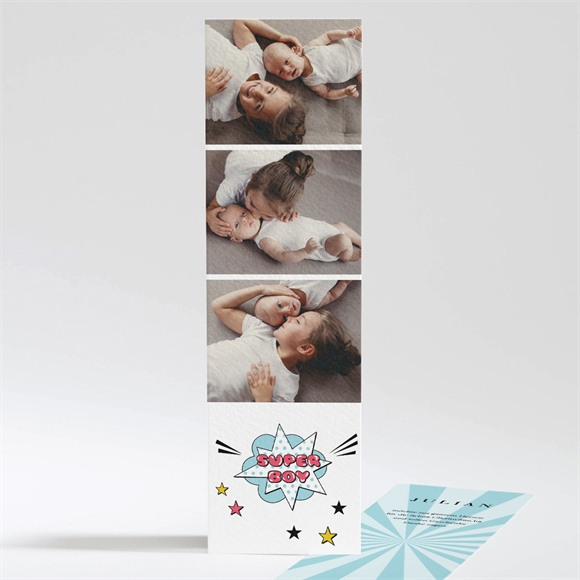 Danksagungskarte Geburt Super Boy réf.N201216
