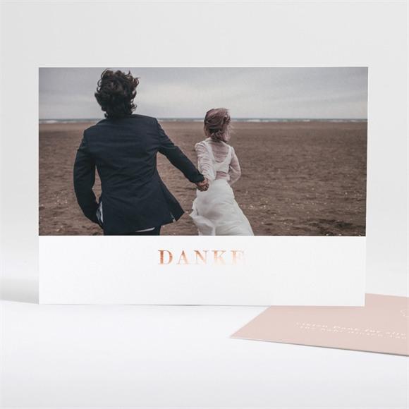 Danksagungskarte Hochzeit Zartrosa und Kupfer réf.N18133
