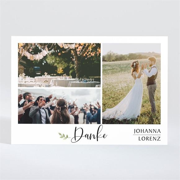 Danksagungskarte Hochzeit Blätterschmuck réf.N11028