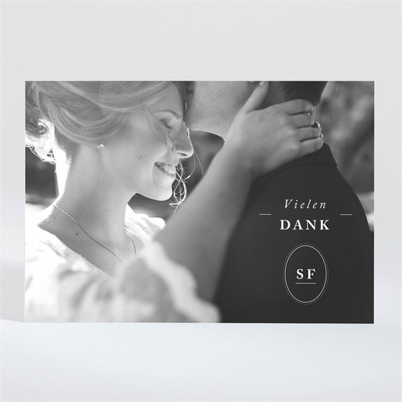 Danksagungskarte Hochzeit Schick in Blau - magnet réf.N11031