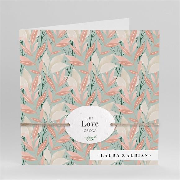 Einladungskarte Hochzeit Blättersamen réf.N451215