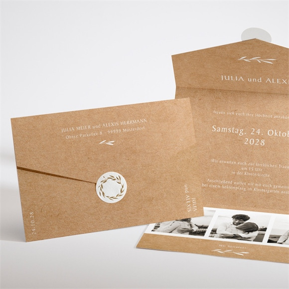 Einladungskarte Hochzeit Boheme schick réf.N97131