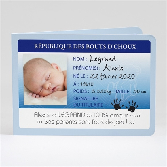 Faire-part naissance Carte d'identité réf.N42105