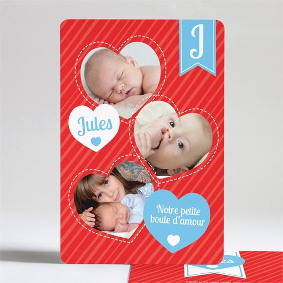 Faire-part naissance Lui en coeur et en photos réf.N24121
