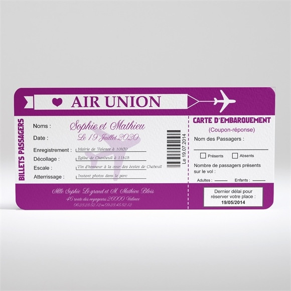 Faire-part mariage Air Union réf.N13007