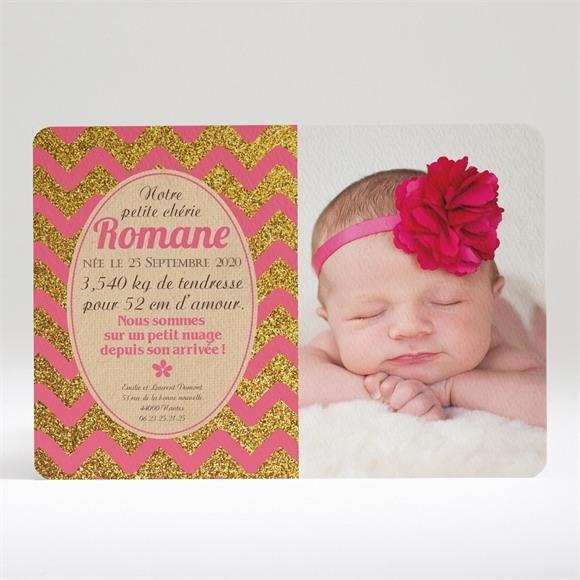 Faire-part naissance Vagues rose et kraft réf.N14012