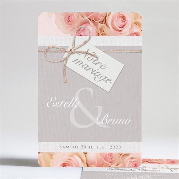 Faire-part mariage Jeu de fleurs et textures réf.N24173