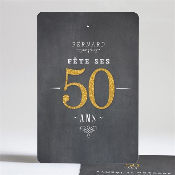 Invitation anniversaire Tout en dorure réf.N24199