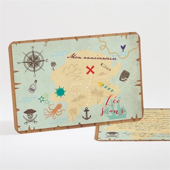 Invitation anniversaire Carte au trésor réf.N11159