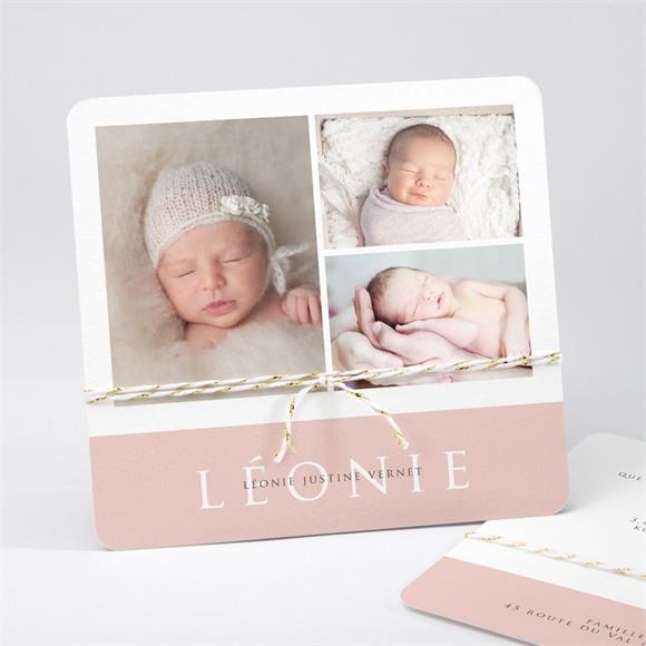 Faire-part naissance 3 photos pour une princesse réf.N311202