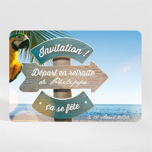 Carte invitation départ à la retraite Vacances méritées ! Magnet réf.N11059