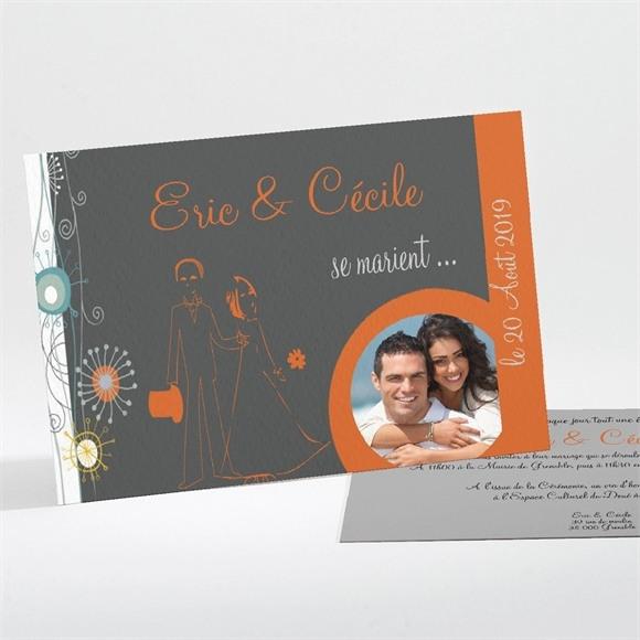 Faire-part mariage Annonce en gris et orange réf.N11106