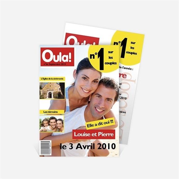 Faire-part mariage Imitation magazine humour réf.N21112