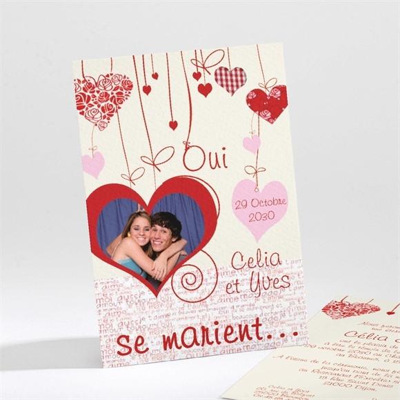 Faire-part mariage Guirlande de coeurs photo réf.N21114