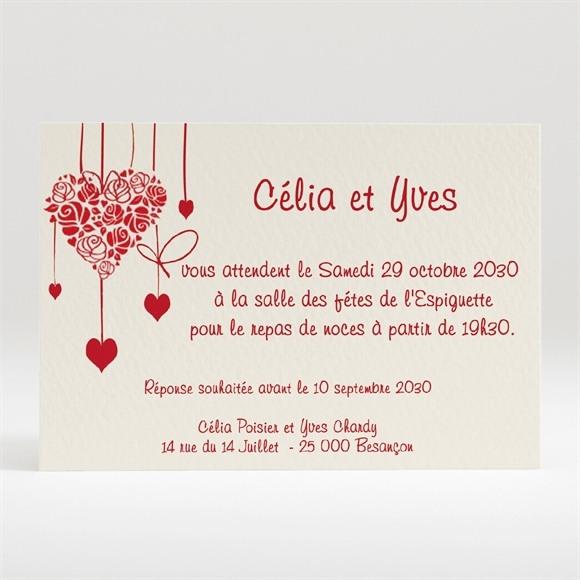 Carton d'invitation mariage Guirlande de coeurs photo réf.N12033