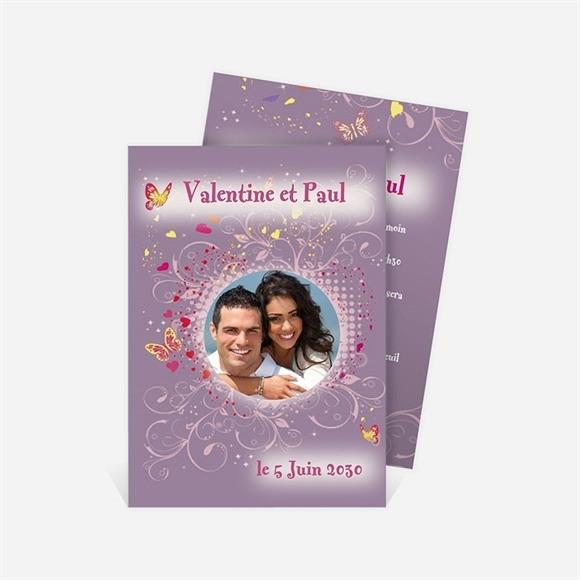 Faire-part mariage Violet et papillons réf.N21122