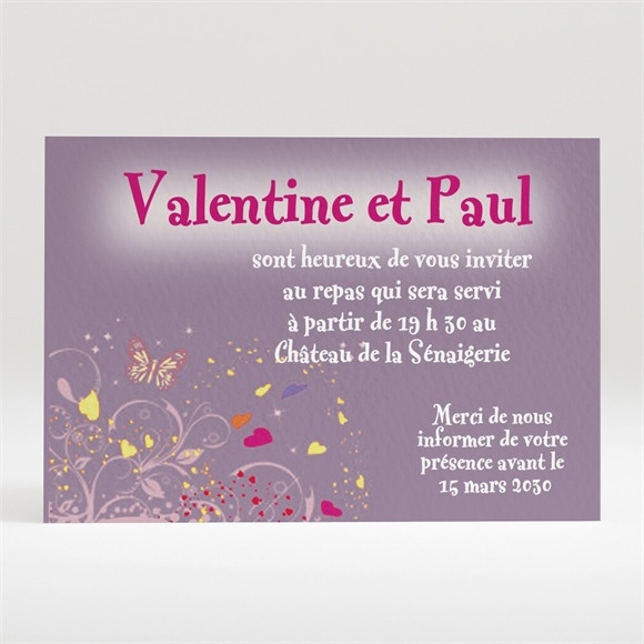 Carton d'invitation mariage Violet et papillons réf.N12042
