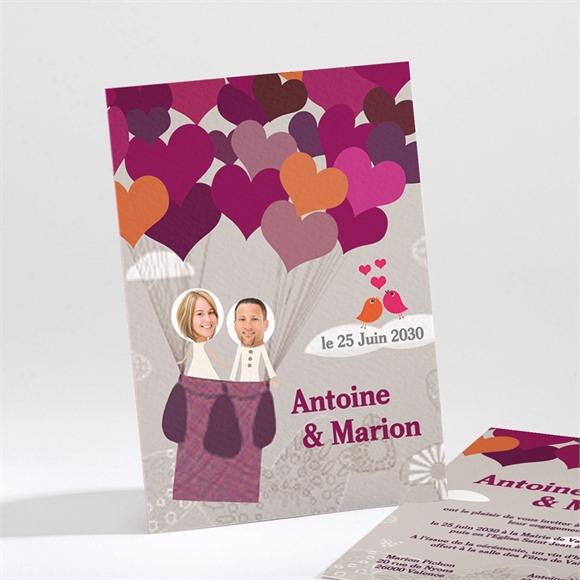 Faire-part mariage Montgolfière de coeurs réf.N21123