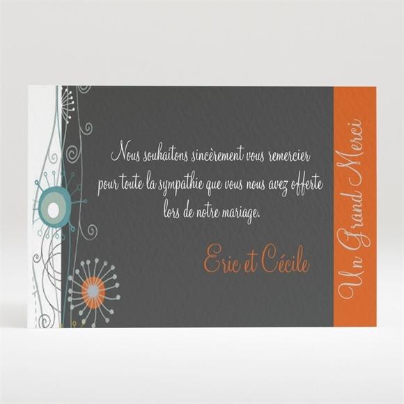 Remerciement mariage Annonce en gris et orange réf.N12060