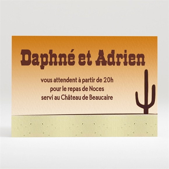 Carton d'invitation mariage Far West original réf.N12049
