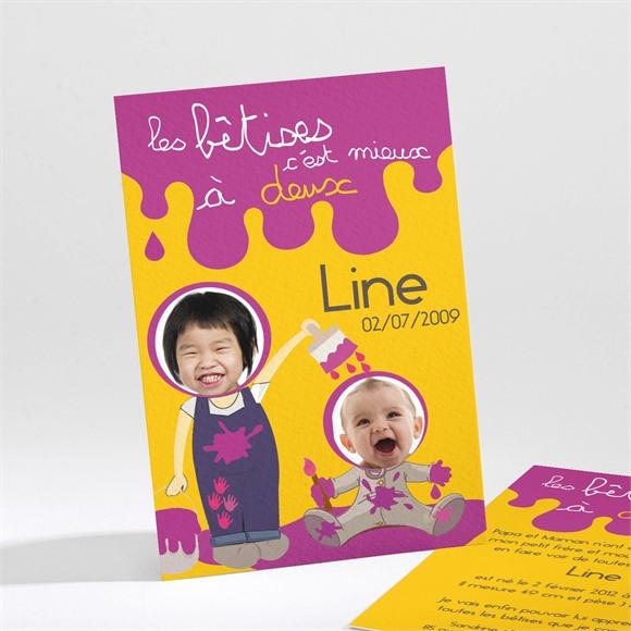 Faire-part naissance Les bêtises à deux violet réf.N21106